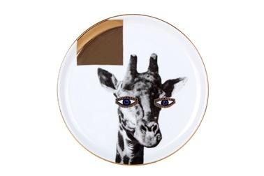 Porland Wild Life Giraffe Düz Tabak 20Cm Renkli